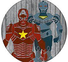 Superhero on wood surface by seanfarrell
