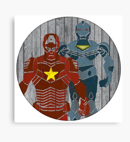 Superhero on wood surface Canvas Print