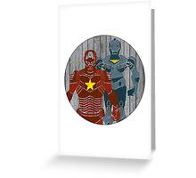 Superhero on wood surface Greeting Card