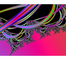 Cosmic Ribbons:  Magenta and Black Fractal Art Photographic Print