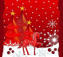 Merry Christmas text card with Xmas trees, snow and a cute decorated horse by walstraasart