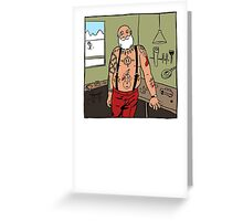 A Tattooed Man in his Workshop Greeting Card