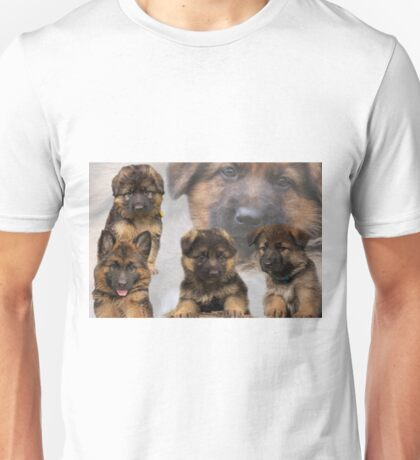 German Shepherd Puppy Collage Unisex T-Shirt
