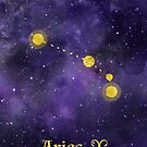 Aries Zodiac constellation, astronomy, astrology, horoscope, watercolour space painting with gold effect stars, font and symbol. by Sandra O'Connor