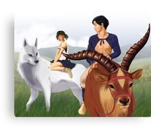 Ashitaka, San, Yakul and Moro's pup Canvas Print