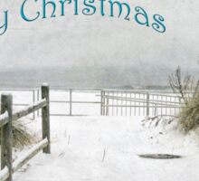 "Snowy Beach Path ""Merry Christmas"" ~ Greeting Card Sticker"