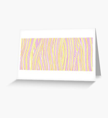 Funky stripes, white, pink and yellow Greeting Card
