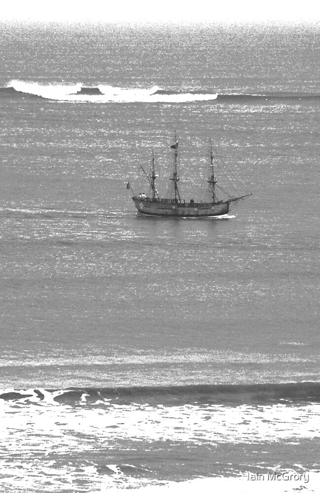 Tall Ship off padstow in black and white by Iain McGrory