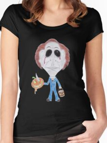 Horror Movie Serial Killer Caricature Women's Fitted Scoop T-Shirt