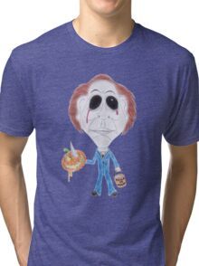 Horror Movie Serial Killer Caricature Tri-blend T-Shirt