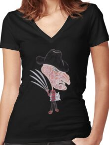 Horror Movie Caricature Women's Fitted V-Neck T-Shirt
