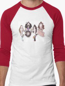 Psychedelic Progressive Rock Band 60's 70's Caricature Men's Baseball ¾ T-Shirt