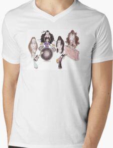Psychedelic Progressive Rock Band 60's 70's Caricature Mens V-Neck T-Shirt