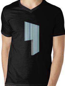 Glitch Homes Wallpaper blue stripes left divide Mens V-Neck T-Shirt