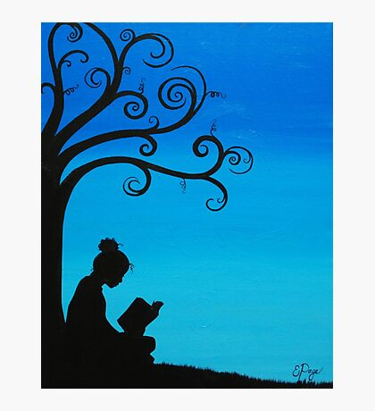 A Girl and Her Book Photographic Print