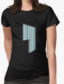 Glitch Homes Wallpaper blue stripes left open Womens Fitted T-Shirt