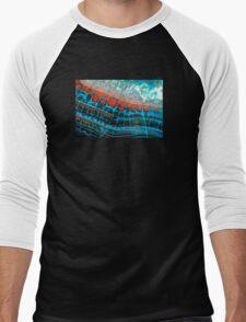 Blue Red Dragon Vein Agate Pattern Men's Baseball ¾ T-Shirt
