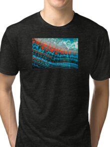 Blue Red Dragon Vein Agate Pattern Tri-blend T-Shirt