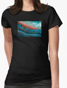Blue Red Dragon Vein Agate Pattern Womens Fitted T-Shirt