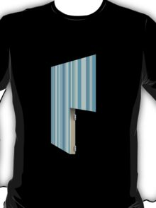 Glitch Homes Wallpaper blue stripes right divide T-Shirt
