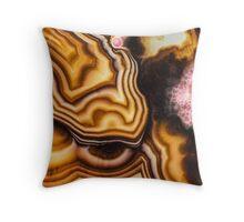 Pink Brown Turritella Agate Pattern Throw Pillow