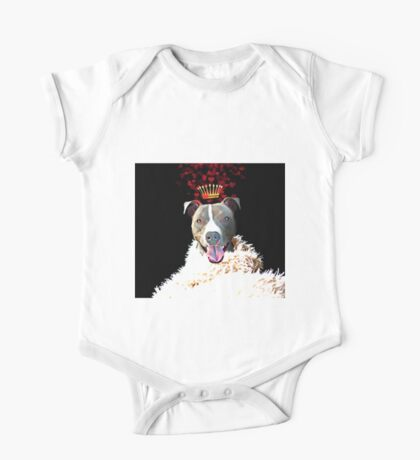 Royal Love Pup, Pit Bull Terrier, crown of hearts One Piece - Short Sleeve