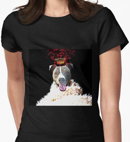 Royal Love Pup, Pit Bull Terrier, crown of hearts Womens Fitted T-Shirt