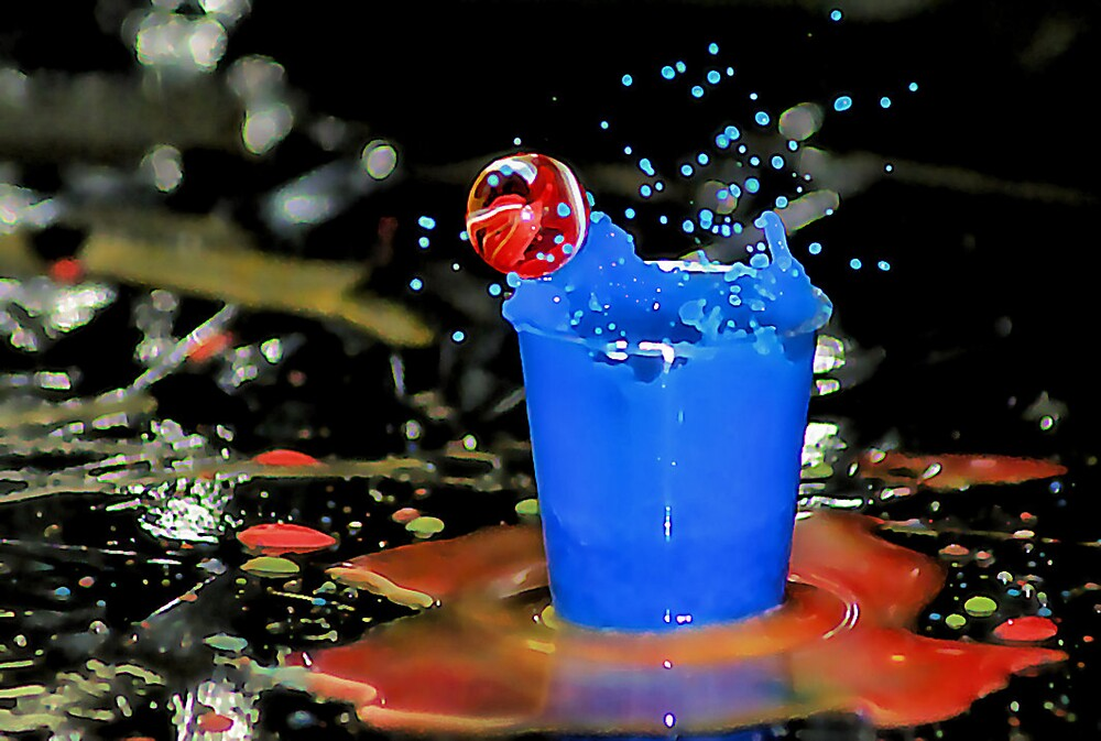Exploding Blue With Red Bubble! by Paul Louis Villani