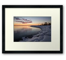 Small Cove Pink and Snowy Dawn Framed Print