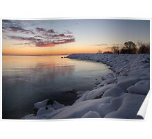 Small Cove Pink and Snowy Dawn Poster