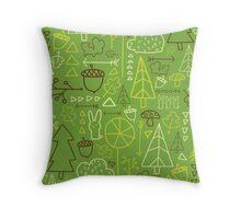 Forest Pattern_Green Throw Pillow
