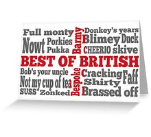 English slang on the St George's Cross flag Greeting Card