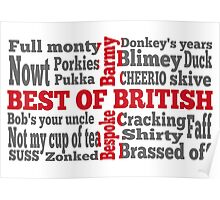 English slang on the St George's Cross flag Poster