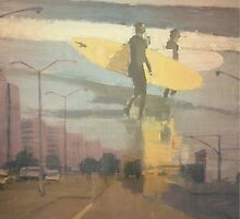 shorefront parkway surfers in yellows by lynnGrayson