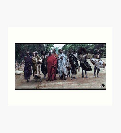 Angoni Warriors At King George Vs Coronation Celebrations, Zomba, 1911. Art Print