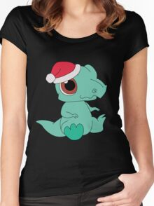 Christmas Dinosaur Women's Fitted Scoop T-Shirt