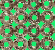 Art Deco Style Beadwork  (green version)- Vintage Bling by MHen
