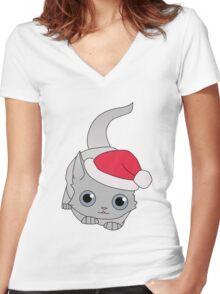 Christmas Cat Women's Fitted V-Neck T-Shirt