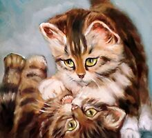 playing cats after Henriette Ronner-knip by Hidemi Tada