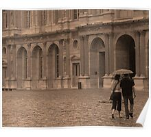 Couple in Rain, Louvre Courtyard Poster