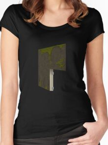Glitch Homes Wallpaper cave right divide Women's Fitted Scoop T-Shirt