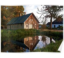Countryside house at the lake Poster