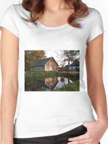 Countryside house at the lake Women's Fitted Scoop T-Shirt