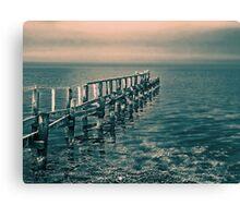 Beautiful seascape of a wooden footbridge Canvas Print