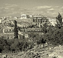 Athenian Acropolis from Philopappou Hill, 1960, Yellow-toned by Priscilla Turner