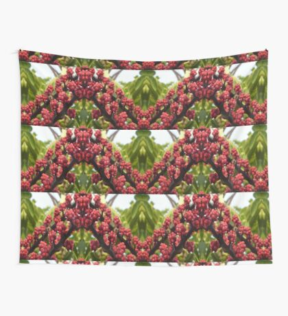 Bee in Red Wall Tapestry