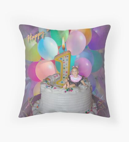 Happy birthday I'm 1! Throw Pillow