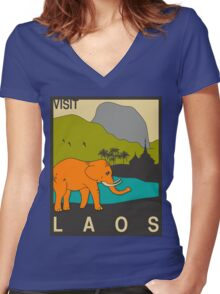Visit LAOS Travel Poster Women's Fitted V-Neck T-Shirt