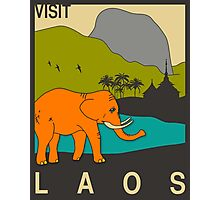Visit LAOS Travel Poster Photographic Print