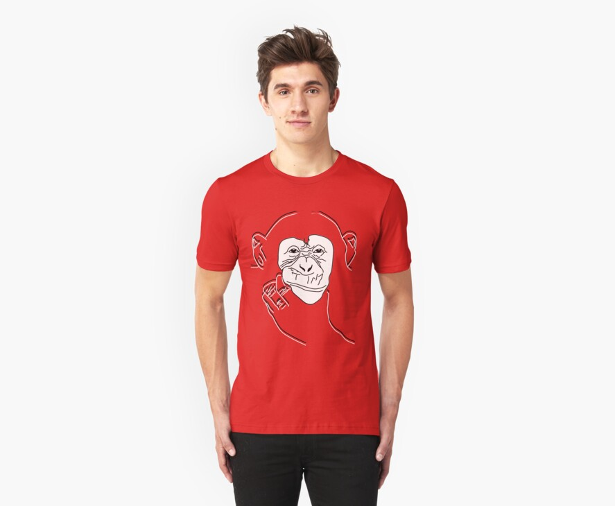 Chimpanzee T-shirt the thinker by parko